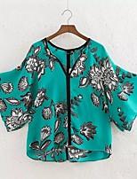 Для женщин На выход На каждый день Весна Осень Блуза V-образный вырез,Простое Уличный стиль Цветочный принт Рукав 3/4,Полиэстер,Средняя