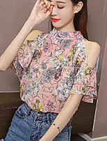 Women's Casual/Daily Simple Blouse,Print Stand Short Sleeves Others
