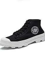 Men's Sneaker Comfort Light Sole Fall Winter PU Canvas Spandex Fabric Casual Outdoor Lace-up Flat Heel Black White Flat
