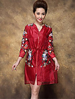 1898 Women's Going out Casual/Daily Simple Vintage Winter CoatSolid Print V Neck  Sleeve Long Polyester