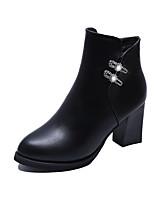 Women's Boots Comfort PU Spring Fall Casual Rhinestone Chunky Heel Burgundy Black 1in-1 3/4in