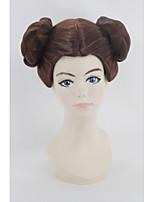 parrucca cosplay dei capelli sintetici scuri auburn delle donne della principessa delle leia organa