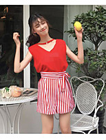 Women's Casual/Daily Simple Summer T-shirt Pant Suits,Solid Striped V Neck Short Sleeve