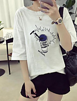 Women's Casual/Daily Simple Summer T-shirt,Print Round Neck Short Sleeves Cotton