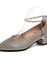 Damen High Heels Komfort Sommer PU Normal Paillette Block Ferse Gold Schwarz Silber 2,5 - 4,5 cm