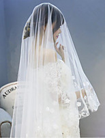 Wedding Veil One-tier Chapel Veils Lace Applique Edge Tulle