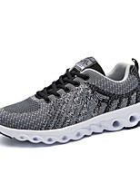 Men's Sneakers Comfort Fall Tulle Casual Lace-up Flat Heel Blue Ruby Gray Black Flat