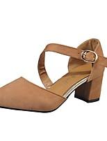 Damen High Heels Komfort Frühling PU Kleid Blockabsatz Schwarz Grün Khaki 5 - 7 cm