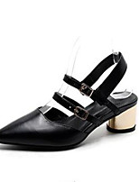 Women's Heels Comfort Real Leather Summer Casual Low Heel Chunky Heel Black White 2in-2 3/4in