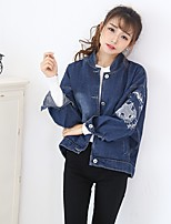 Women's Plus Size Going out Casual/Daily Simple Boho Fall Winter Denim JacketSolid Stand Long Sleeve Regular Cotton Oversized Embroidered