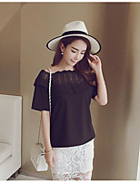Women's Casual/Daily Simple T-shirt,Solid Square Neck Short Sleeves Polyester