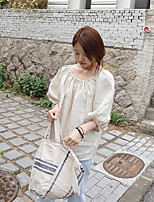 Women's Casual/Daily Simple Shirt,Solid Boat Neck 3/4 Length Sleeves Cotton Others