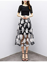 Women's Daily Soak Off Summer Blouse Skirt Suits,Solid Floral Print Round Neck Half Sleeve