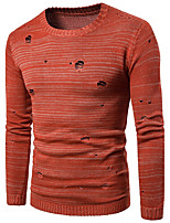 Men's Going out Casual/Daily Simple Regular Pullover,Solid Round Neck Long Sleeves Cotton Fall Medium Micro-elastic