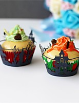 50pcs/lot Black Old Castle Laser Cut Cupcake Wrappers Wedding Party Birthday Baby Shower Decoretion