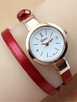 Damen Modeuhr Armband-Uhr Quartz PU Band Schwarz Weiß Blau Rot Braun Rosa Rose