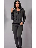 Women's Casual/Daily Simple Spring T-shirt Pant Suits,Others Round Neck Long Sleeve