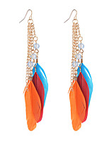 6 Colors Popular Fashion Bohemia Beads Feather Earrings Long Tassel Pendant Earrings For Women Jewelry Accessories