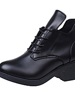 Women's Boots Comfort PU Fall Casual Lace-up Low Heel Ruby Black Under 1in