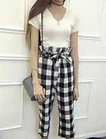 Damen Grid /-Plaid-Muster T-Shirt-Ärmel Hose Anzüge,V-Ausschnitt Sommer Kurzarm