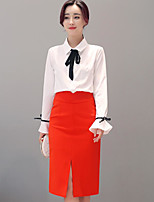 Women's Casual/Daily Simple Summer Shirt Skirt Suits,Solid Shirt Collar Long Sleeve
