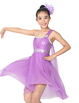 Ballet Dresses Women's Children's Performance Elastic Lycra Pleated Flower(s) Paillette Sleeveless Natural Dresses Headpieces