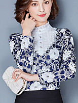 Women's Going out Casual/Daily Simple Blouse,Print Round Neck Long Sleeves Cotton