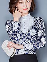Для женщин На выход На каждый день Блуза Круглый вырез,Простое С принтом Длинный рукав,Хлопок