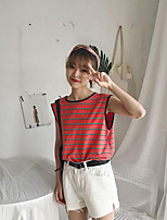 Women's Casual/Daily Simple Summer Tank Top,Solid Striped Round Neck Sleeveless Others