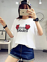 Women's Casual/Daily Simple T-shirt,Solid Floral Print Round Neck Short Sleeves Cotton