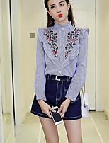 Camicia Da donna Casual Semplice Primavera,A strisce A collo alto Cotone Manica lunga Medio spessore
