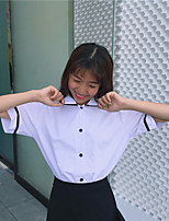 Women's Casual/Daily Simple Shirt,Striped Square Neck Short Sleeves Cotton