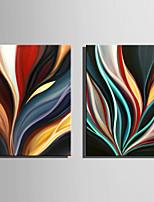 Hånd-malede Abstrakt Vertikal,Abstrakt To Paneler Kanvas Hang-Painted Oliemaleri For Hjem Dekoration