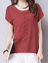 Damen Solide Einfach Lässig/Alltäglich T-shirt,Rundhalsausschnitt Kurzarm Baumwolle Andere