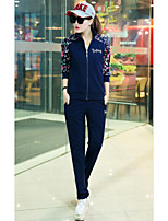 Women's Casual/Daily Spring Fall Hoodie Pant Suits,Solid Floral Letter Crew Neck Long Sleeve