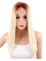 Ombre Long Silky Straight Lace Front Wig For Women Daily Weraing or Cosplay Party Black To Blonde Color Synthetic Middle Part Lace Hair