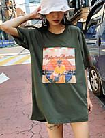 Damen Solide Niedlich Ausgehen Lässig/Alltäglich T-shirt,Rundhalsausschnitt Sommer Kurzarm Baumwolle