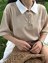 Damen Buchstabe Einfach Lässig/Alltäglich T-shirt,Hemdkragen Kurzarm Baumwolle