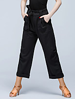 Latin Dance Bottoms Women's Performance Polyester Pockets 1 Piece Natural Pants