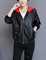 Women's Going out Casual/Daily Street chic Fall Winter Leather Jacket,Solid Hooded Long Sleeve Short PU