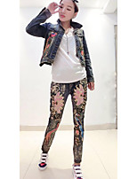 Women's Going out Casual/Daily Simple Spring Fall T-shirt Pant Suits,Solid Floral Shirt Collar Long Sleeve