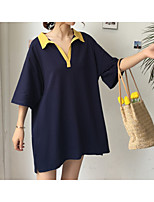 Women's Casual/Daily Simple Summer T-shirt,Color Block Shirt Collar Half Sleeves Cotton Medium