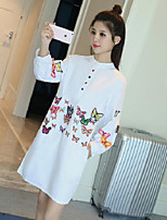 Women's Casual/Daily Sexy Shirt,Solid Floral Print Shirt Collar Long Sleeves Cotton