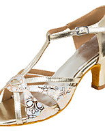 Women's Latin Faux Leather Sandals Performance Buckle Cuban Heel Beige 2