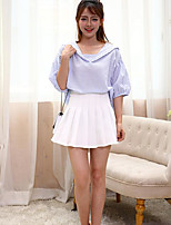 Women's Going out Cute Shirt,Solid Striped Shirt Collar Half Sleeves Cotton