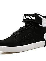 Men's Sneaker Light Sole Fall Winter Leatherette Casual Office & Career Lace-up Flat Heel Black/Red Black/White Black White Flat