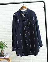 Camicia Da donna Per uscire Casual Sensuale Semplice Moda città Estate,Con stampe Colletto Cotone Manica lunga Sottile Medio spessore