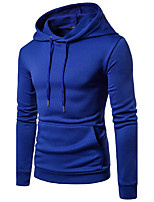 Men's Going out Casual/Daily Simple Hoodie Solid Round Neck Inelastic Cotton Long Sleeve Fall Winter