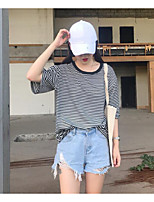 Women's Casual/Daily Simple T-shirt,Solid Striped Round Neck Half Sleeves Cotton Polyester