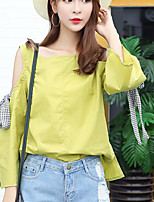 Women's Casual/Daily Simple Shirt,Solid Boat Neck Long Sleeves Nylon Others